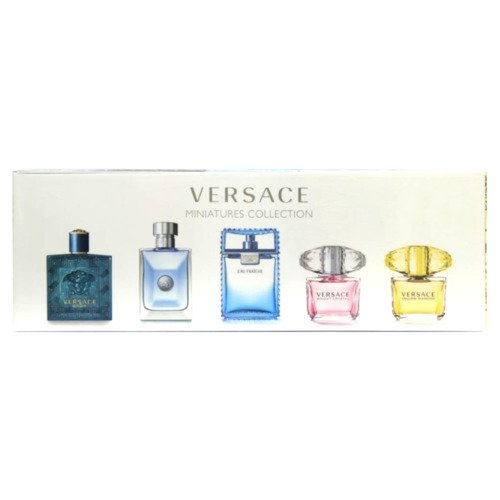 Versace zestaw miniaturek - Man Eau Fraiche woda toaletowa 5 ml + Bright Crystal woda toaletowa 5 ml + Versce Pour Homme woda toaletowa 5 ml + Yellow Diamond woda toaletowa 5 ml + Eros woda toaletowa 5 ml
